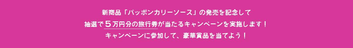 新商品「パッポンカリーソース」の発売を記念して抽選で5万円分の旅行券が当たるキャンペーンを実施します!キャンペーンに参加して、豪華賞品を当てよう!