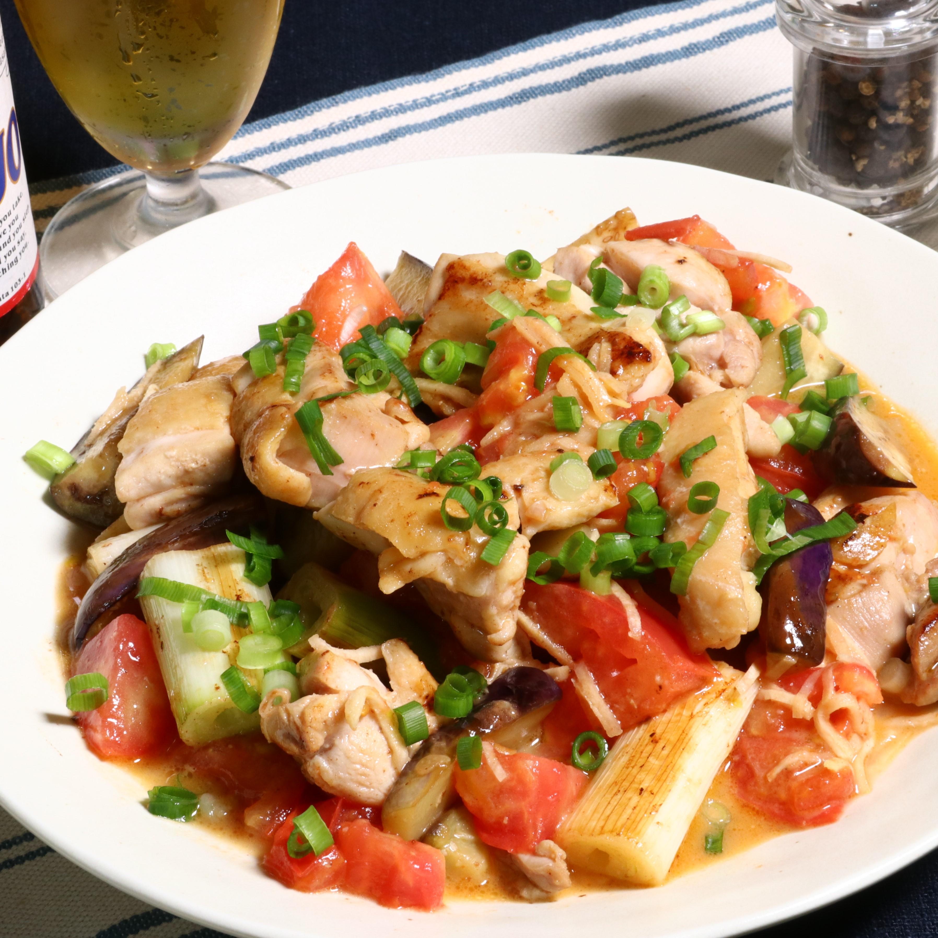 鶏モモ肉とナスのスタミナ炒め(こく旨醤油たれ)