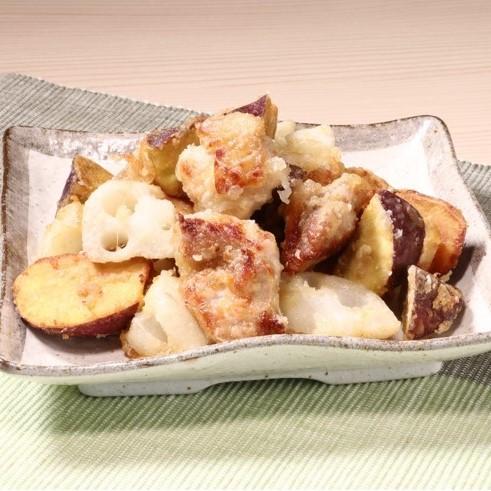 揚げずに簡単!鶏肉と根菜の竜田揚げ(香生姜醤油たれ)