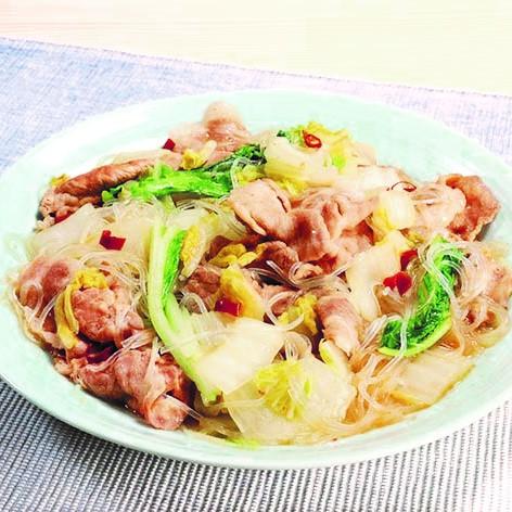豚肉と白菜のピリ辛春雨うま煮(旨辛醤油たれ)