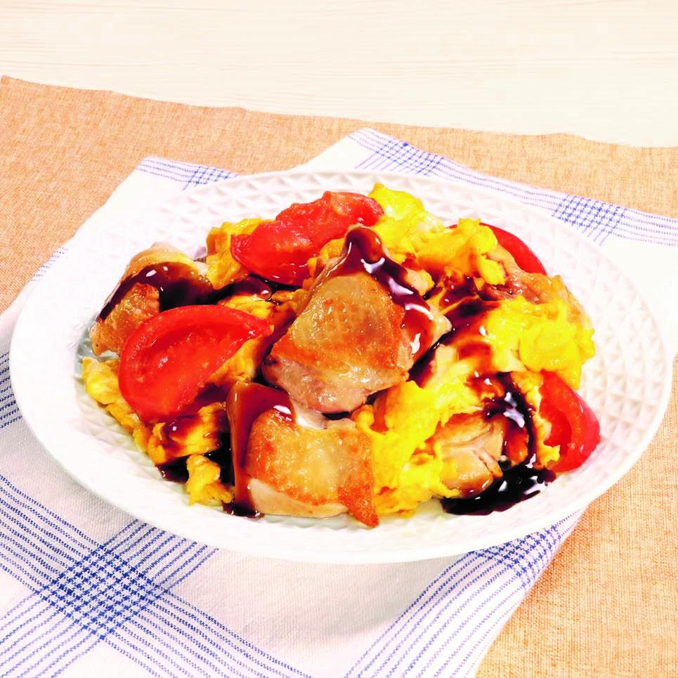 黒酢でさっぱり!鶏肉とトマトの卵炒め(まろやか黒酢醤油たれ)