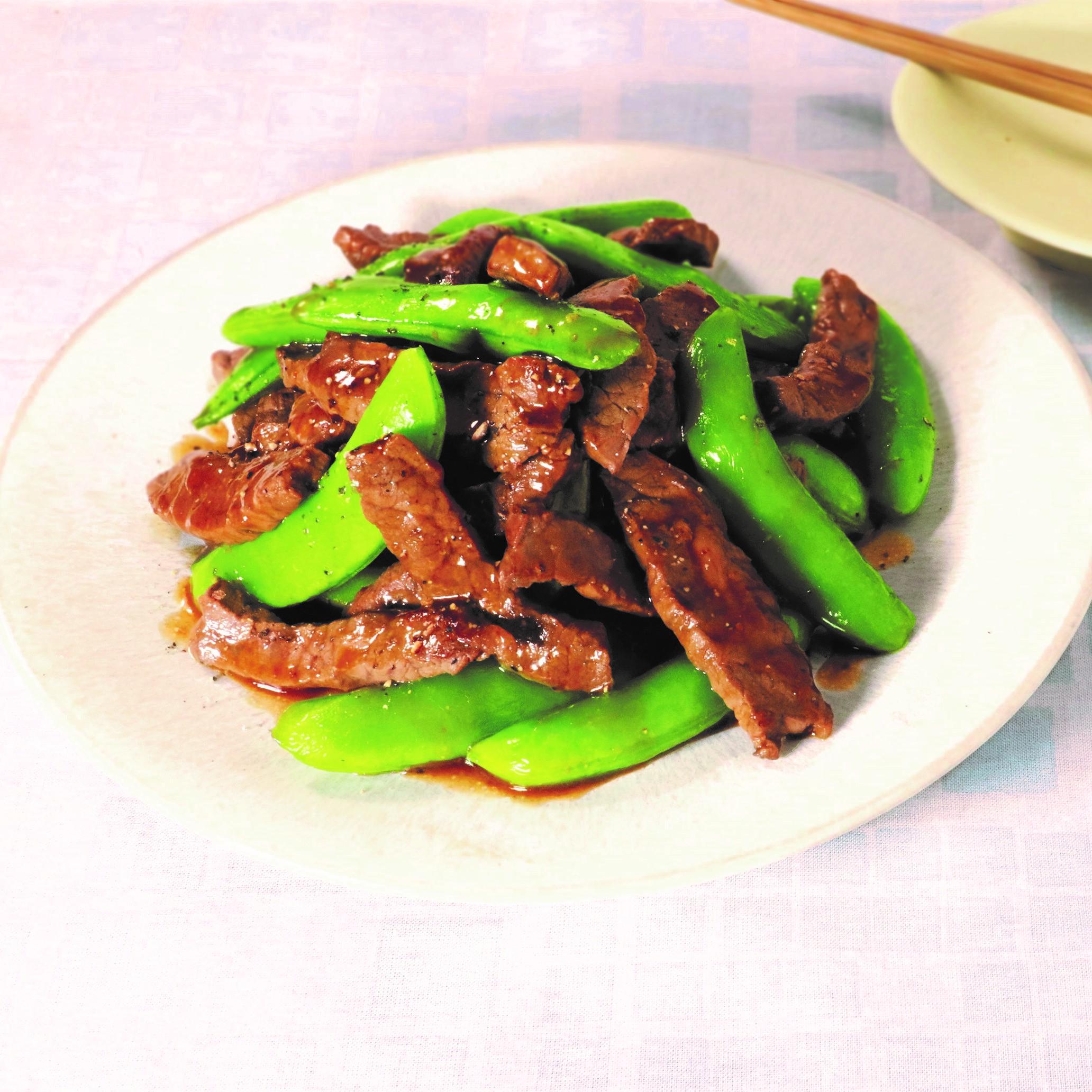 さっぱりスパイシー 牛肉の黒酢胡椒炒め(まろやか黒酢醤油たれ)