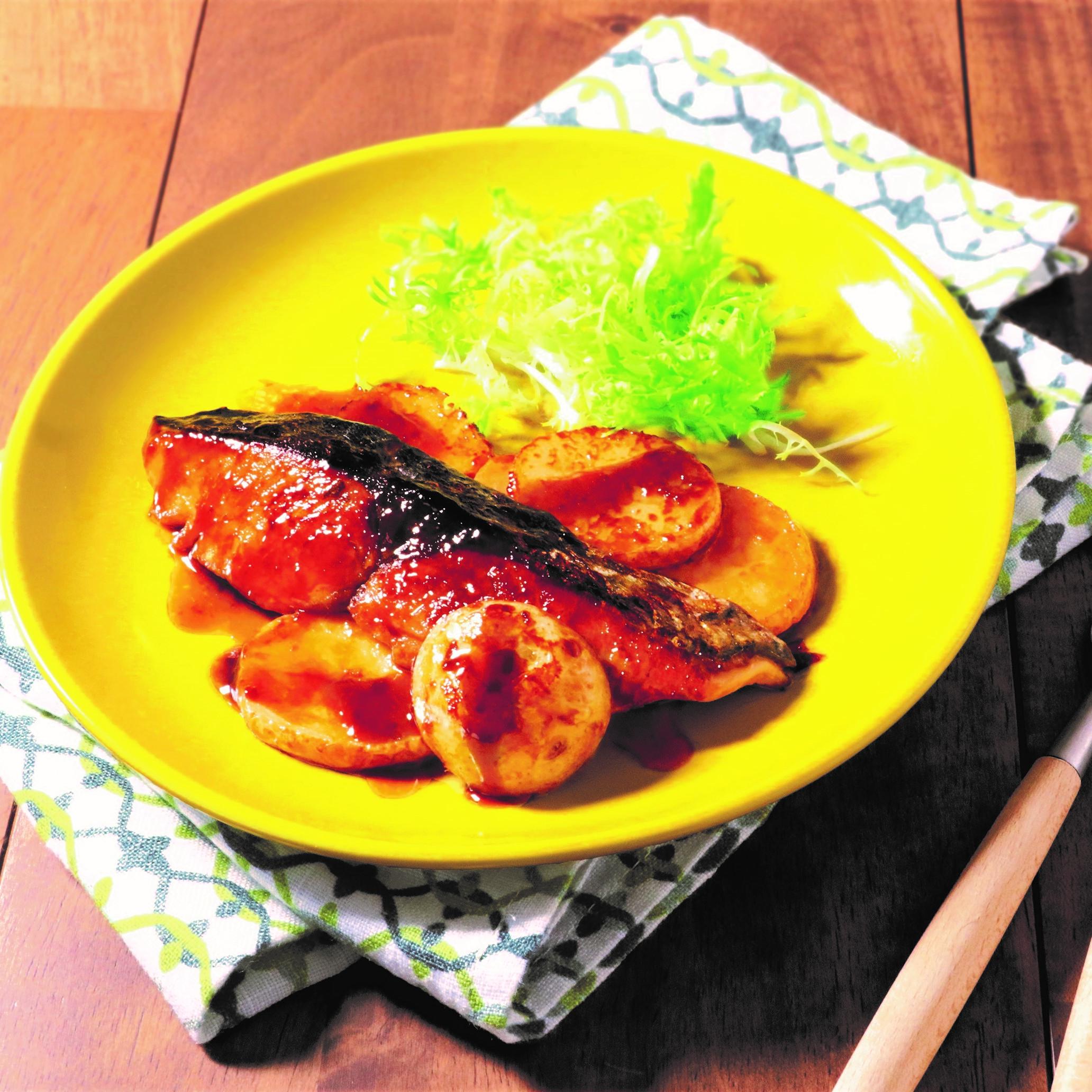 魚と新じゃがの黒酢てり焼き(まろやか黒酢醤油たれ)